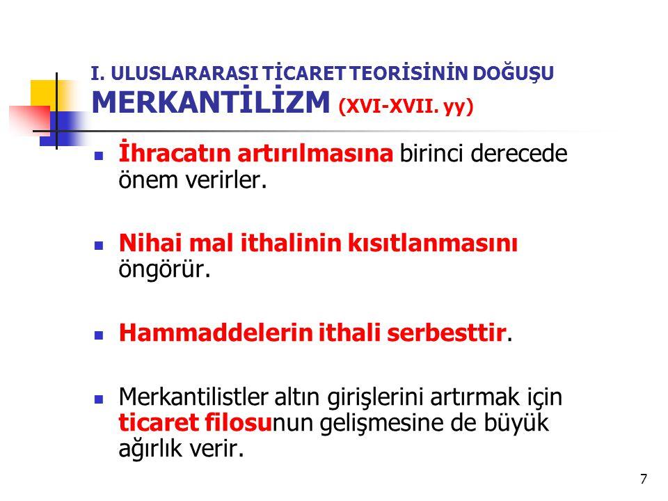 7 I.ULUSLARARASI TİCARET TEORİSİNİN DOĞUŞU MERKANTİLİZM (XVI-XVII.