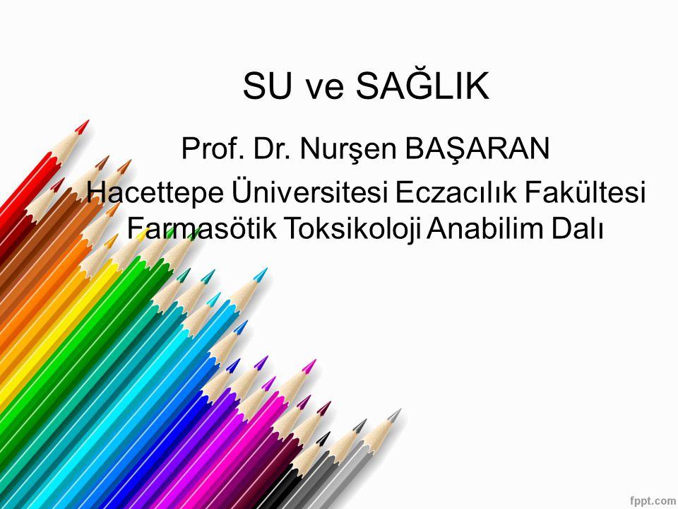 SU ve SAĞLIK Prof. Dr. Nurşen BAŞARAN Hacettepe Üniversitesi Eczacılık Fakültesi Farmasötik Toksikoloji Anabilim Dalı