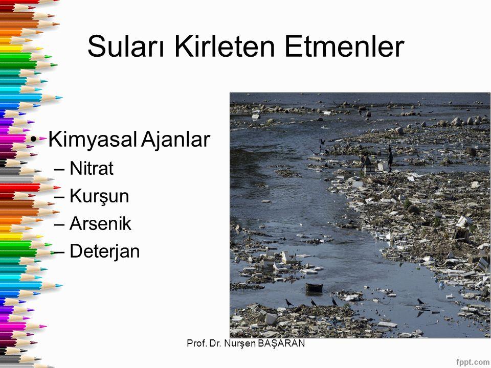 Suları Kirleten Etmenler Kimyasal Ajanlar –Nitrat –Kurşun –Arsenik –Deterjan Prof. Dr. Nurşen BAŞARAN