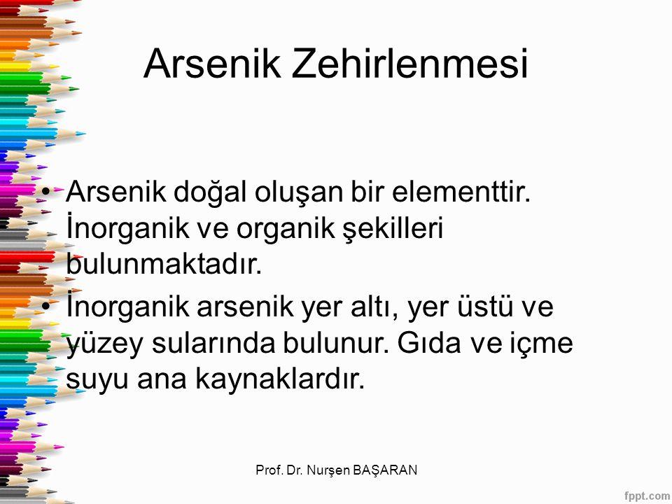 Arsenik Zehirlenmesi Arsenik doğal oluşan bir elementtir. İnorganik ve organik şekilleri bulunmaktadır. İnorganik arsenik yer altı, yer üstü ve yüzey