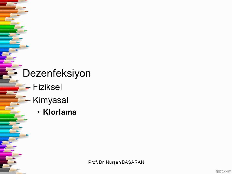 Dezenfeksiyon –Fiziksel –Kimyasal Klorlama Prof. Dr. Nurşen BAŞARAN