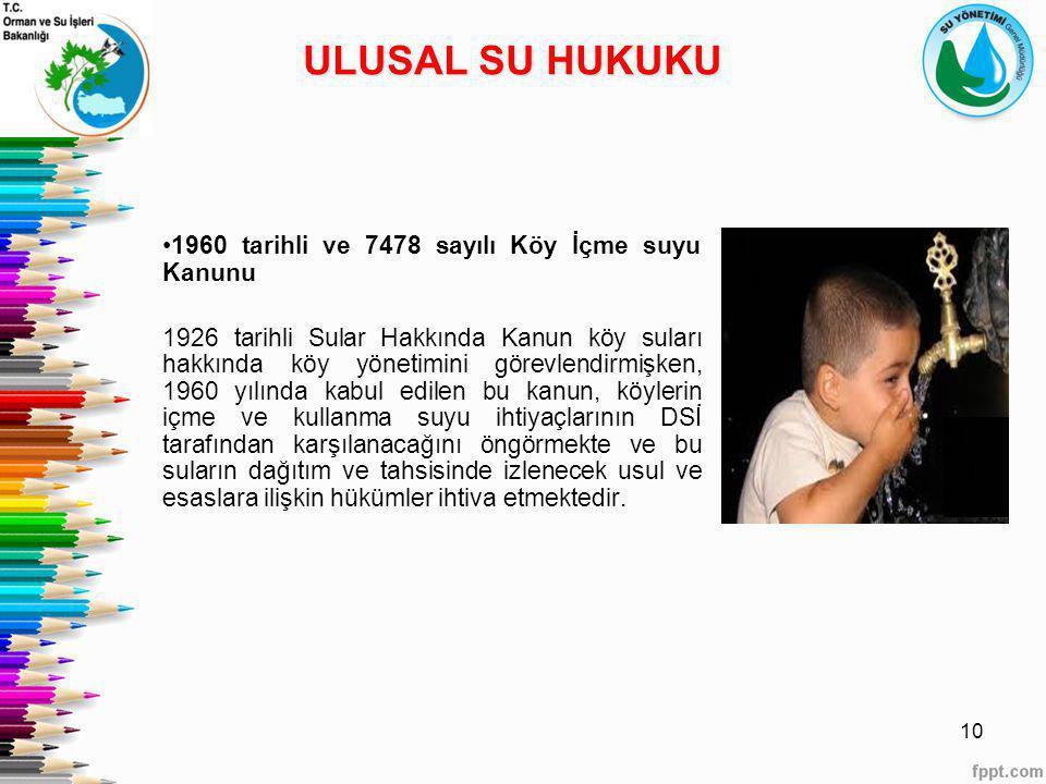 1960 tarihli ve 7478 sayılı Köy İçme suyu Kanunu 1926 tarihli Sular Hakkında Kanun köy suları hakkında köy yönetimini görevlendirmişken, 1960 yılında