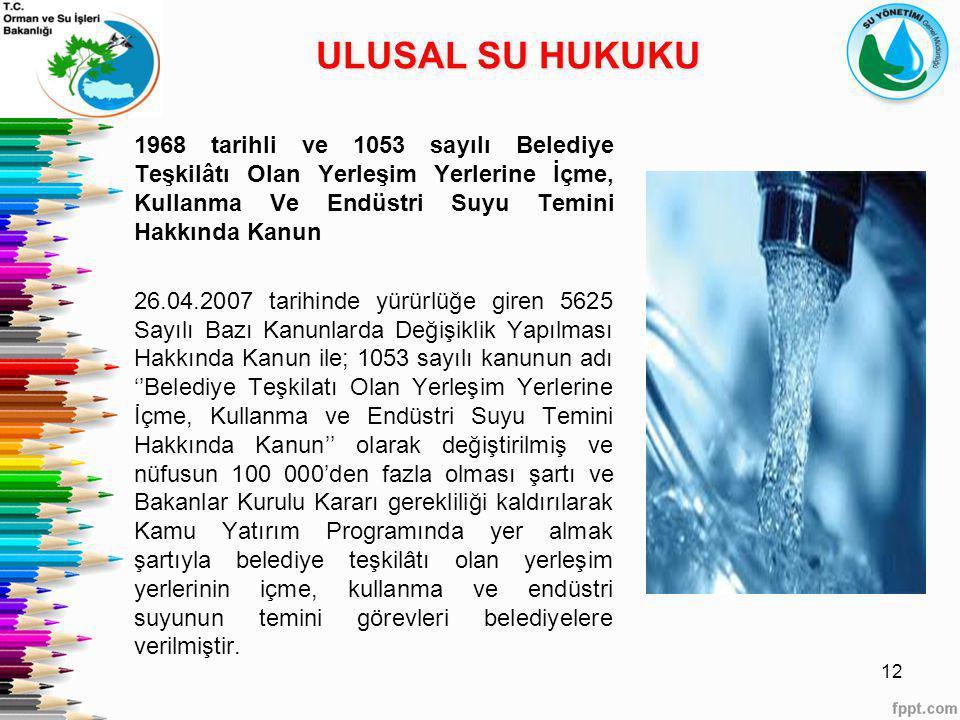1968 tarihli ve 1053 sayılı Belediye Teşkilâtı Olan Yerleşim Yerlerine İçme, Kullanma Ve Endüstri Suyu Temini Hakkında Kanun 26.04.2007 tarihinde yürü