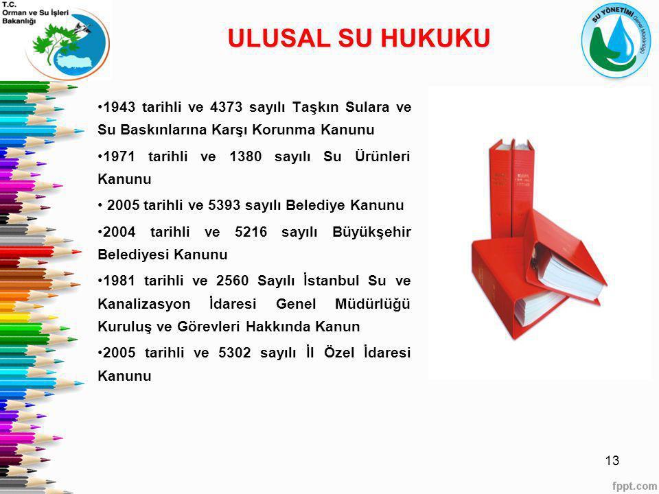 1943 tarihli ve 4373 sayılı Taşkın Sulara ve Su Baskınlarına Karşı Korunma Kanunu 1971 tarihli ve 1380 sayılı Su Ürünleri Kanunu 2005 tarihli ve 5393