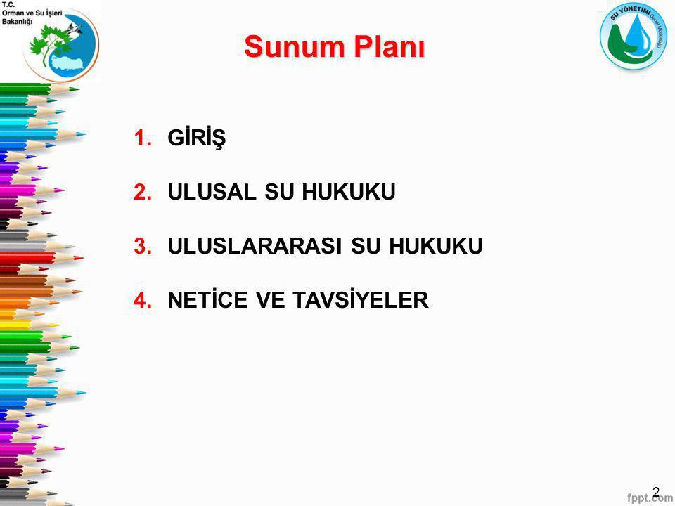 2 1.GİRİŞ 2.ULUSAL SU HUKUKU 3.ULUSLARARASI SU HUKUKU 4.NETİCE VE TAVSİYELER Sunum Planı
