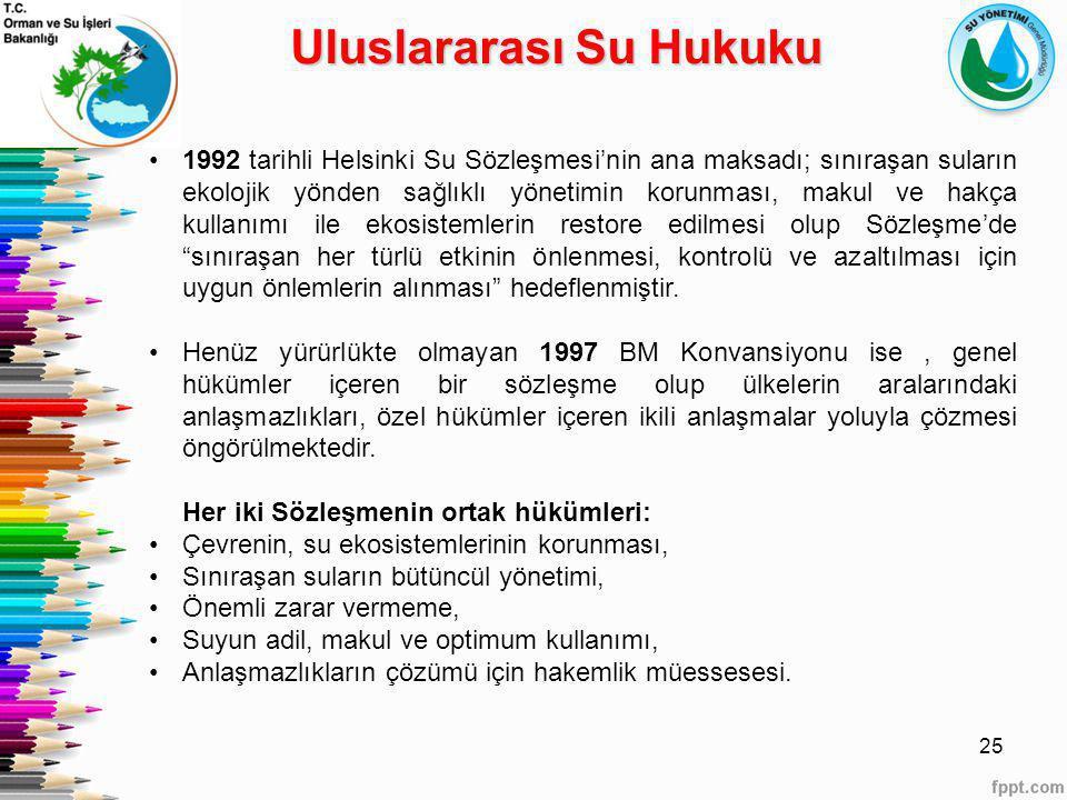 25 1992 tarihli Helsinki Su Sözleşmesi'nin ana maksadı; sınıraşan suların ekolojik yönden sağlıklı yönetimin korunması, makul ve hakça kullanımı ile e