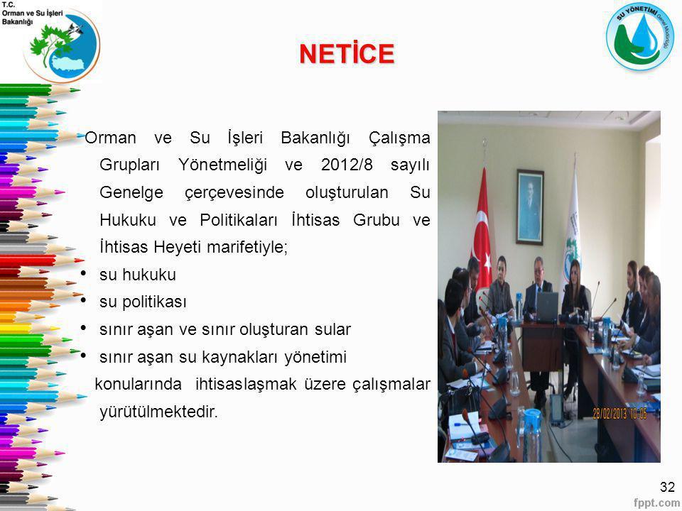 32 Orman ve Su İşleri Bakanlığı Çalışma Grupları Yönetmeliği ve 2012/8 sayılı Genelge çerçevesinde oluşturulan Su Hukuku ve Politikaları İhtisas Grubu