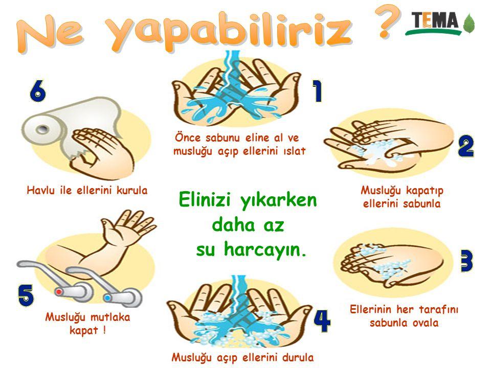 Önce sabunu eline al ve musluğu açıp ellerini ıslat Musluğu kapatıp ellerini sabunla Ellerinin her tarafını sabunla ovala Musluğu açıp ellerini durula