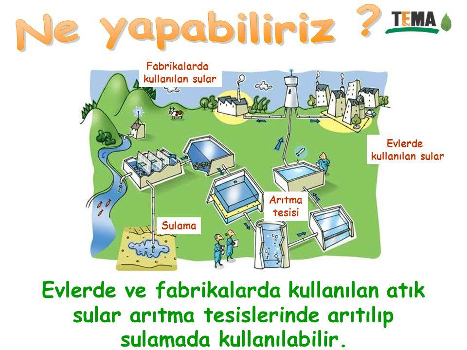 Evlerde ve fabrikalarda kullanılan atık sular arıtma tesislerinde arıtılıp sulamada kullanılabilir. Evlerde kullanılan sular Fabrikalarda kullanılan s