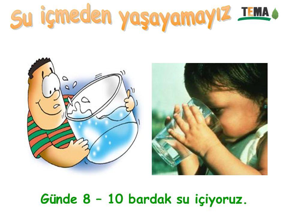 Günde 8 – 10 bardak su içiyoruz.