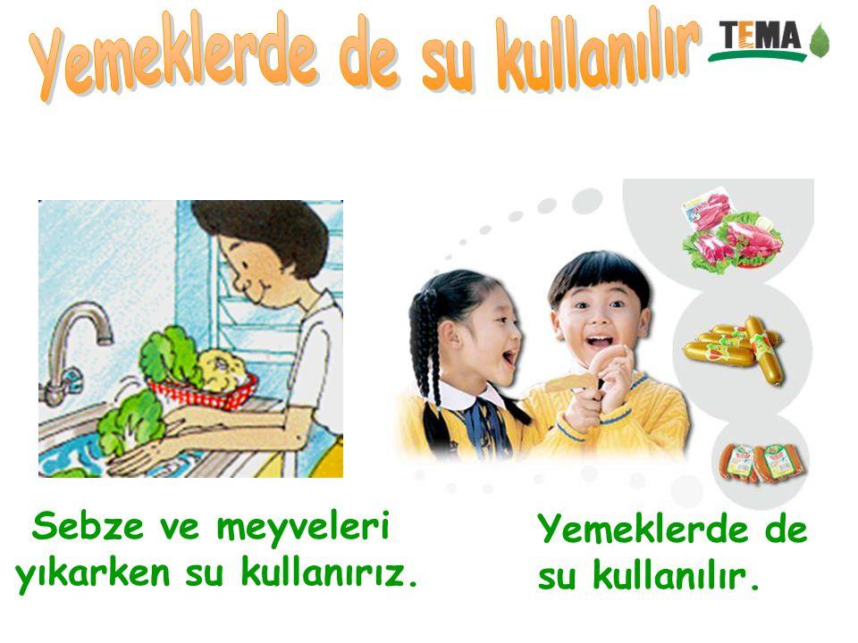 Sebze ve meyveleri yıkarken su kullanırız. Yemeklerde de su kullanılır.