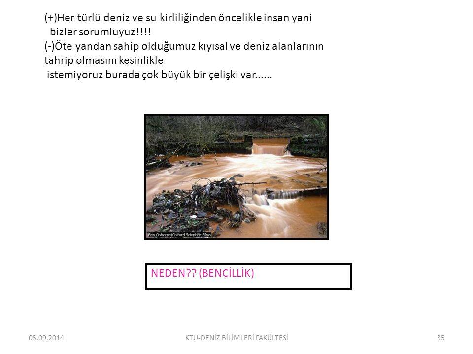 05.09.2014KTU-DENİZ BİLİMLERİ FAKÜLTESİ35 (+)Her türlü deniz ve su kirliliğinden öncelikle insan yani bizler sorumluyuz!!!.