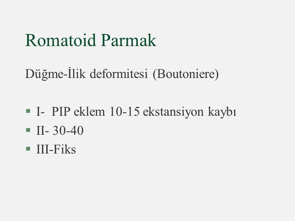 Romatoid Parmak Düğme-İlik deformitesi (Boutoniere) §I- PIP eklem 10-15 ekstansiyon kaybı §II- 30-40 §III-Fiks