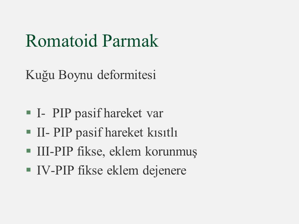 Romatoid Parmak Kuğu Boynu deformitesi §I- PIP pasif hareket var §II- PIP pasif hareket kısıtlı §III-PIP fikse, eklem korunmuş §IV-PIP fikse eklem dej