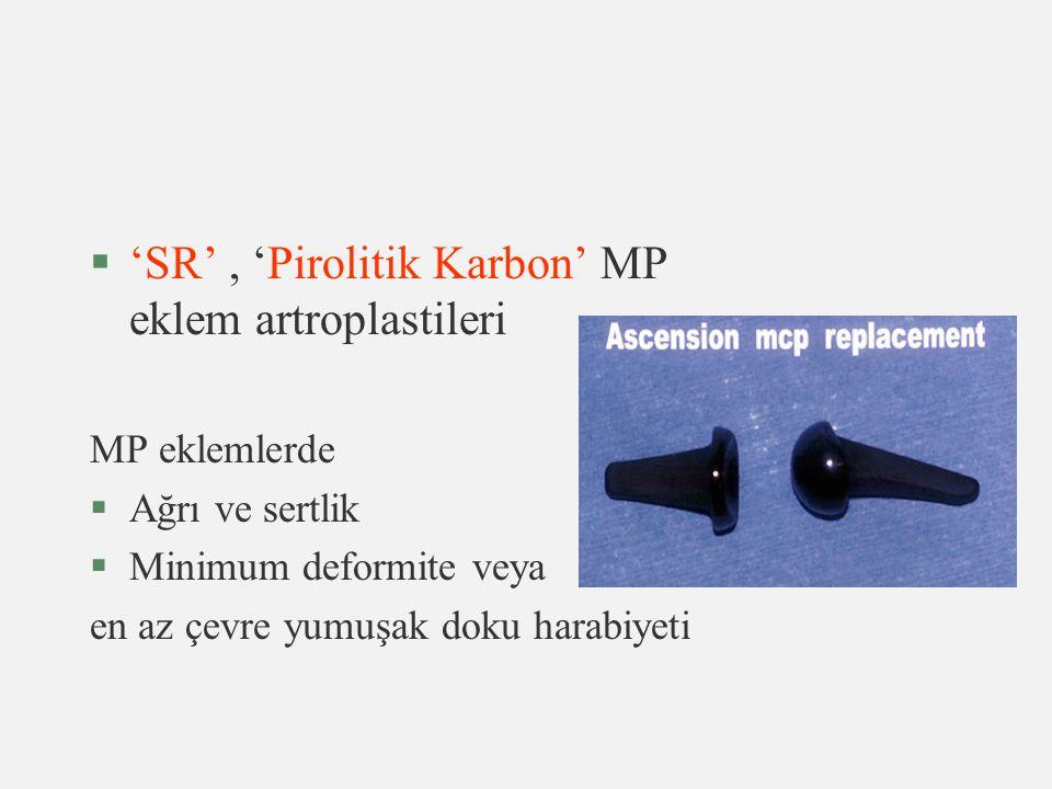 §'SR', 'Pirolitik Karbon' MP eklem artroplastileri MP eklemlerde §Ağrı ve sertlik §Minimum deformite veya en az çevre yumuşak doku harabiyeti
