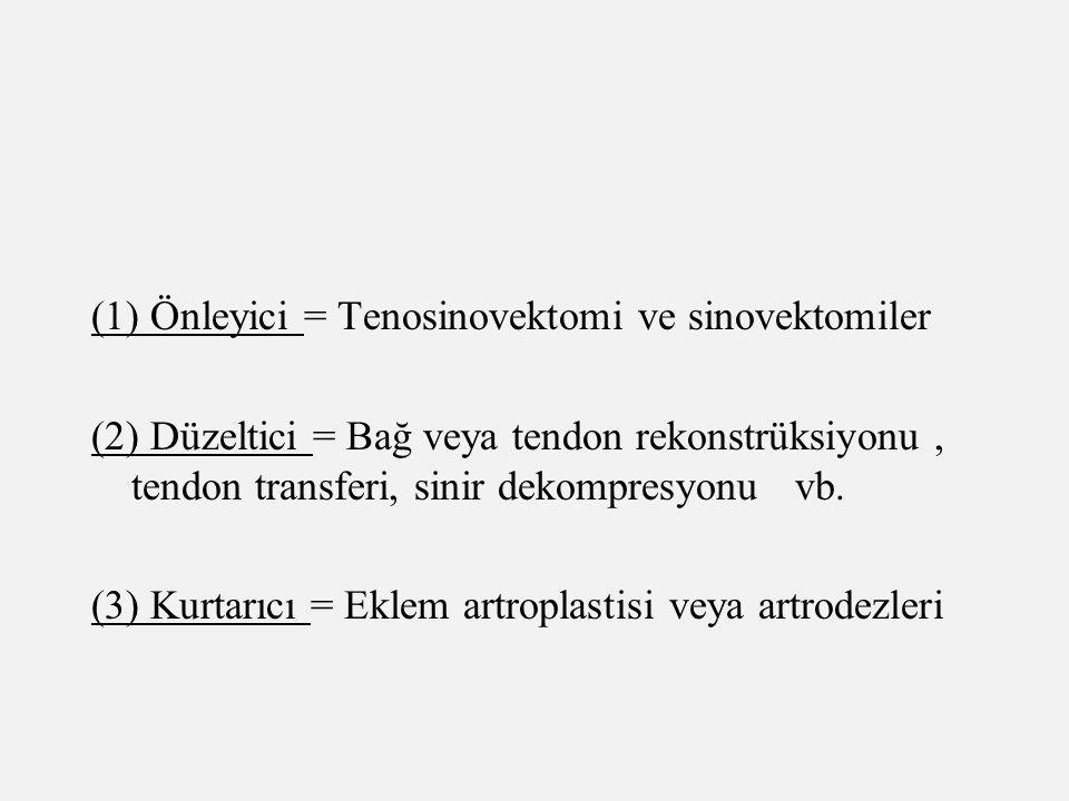 (1) Önleyici = Tenosinovektomi ve sinovektomiler (2) Düzeltici = Bağ veya tendon rekonstrüksiyonu, tendon transferi, sinir dekompresyonu vb. (3) Kurta