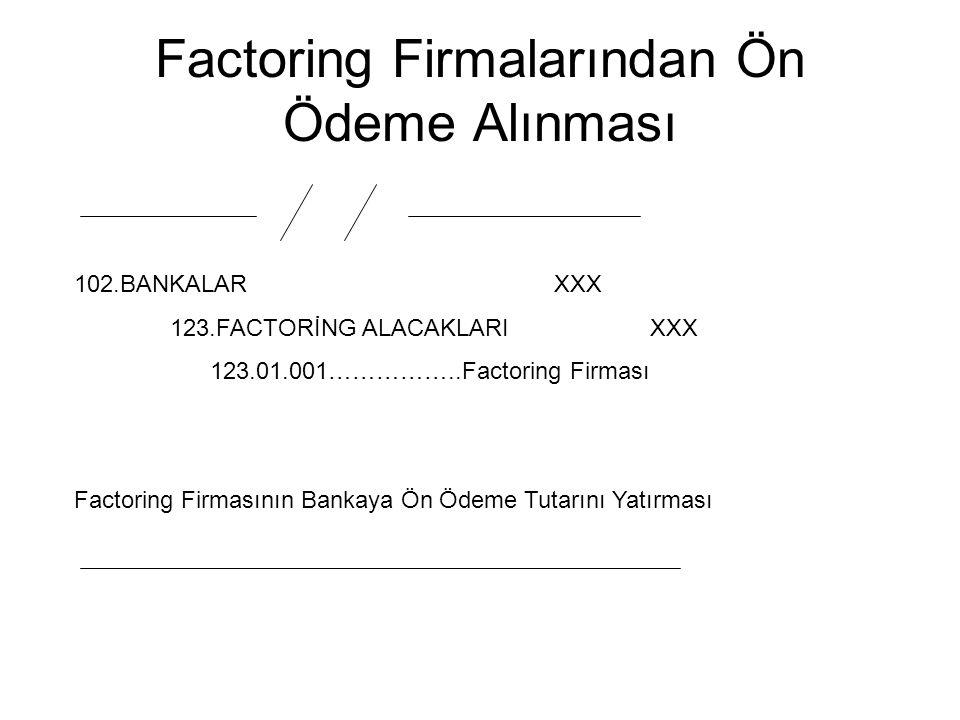 Factoring Firmalarından Ön Ödeme Alınması 102.BANKALARXXX 123.FACTORİNG ALACAKLARIXXX 123.01.001……………..Factoring Firması Factoring Firmasının Bankaya