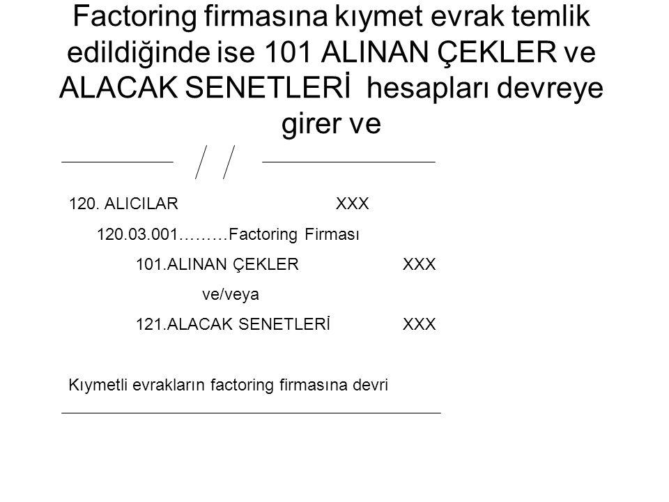 Factoring firmasına kıymet evrak temlik edildiğinde ise 101 ALINAN ÇEKLER ve ALACAK SENETLERİ hesapları devreye girer ve 120. ALICILAR XXX 120.03.001…