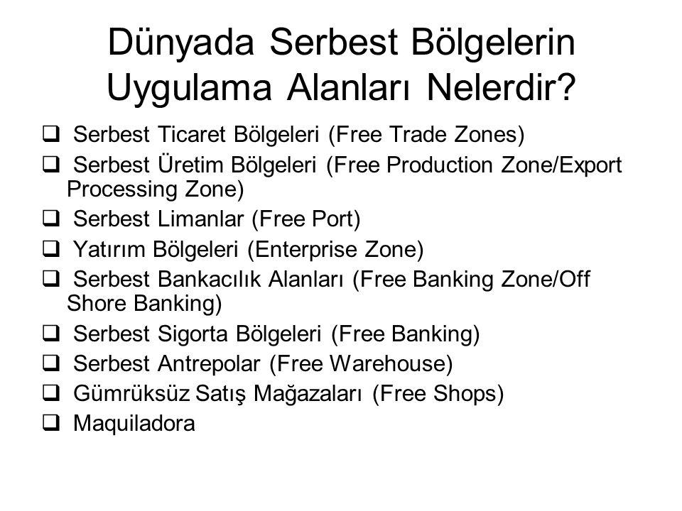 Dünyada Serbest Bölgelerin Uygulama Alanları Nelerdir?  Serbest Ticaret Bölgeleri (Free Trade Zones)  Serbest Üretim Bölgeleri (Free Production Zone