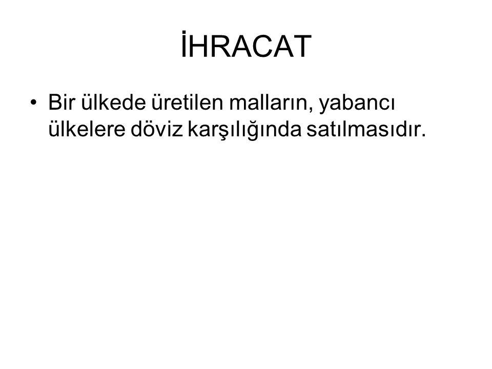 İHRACAT Bir ülkede üretilen malların, yabancı ülkelere döviz karşılığında satılmasıdır.