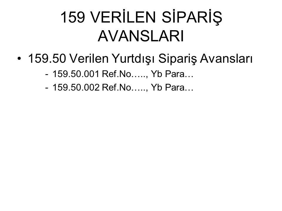 159 VERİLEN SİPARİŞ AVANSLARI 159.50 Verilen Yurtdışı Sipariş Avansları -159.50.001 Ref.No….., Yb Para… -159.50.002 Ref.No….., Yb Para…