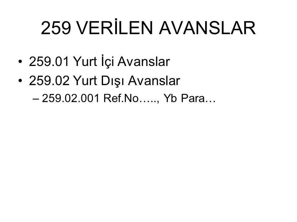 259 VERİLEN AVANSLAR 259.01 Yurt İçi Avanslar 259.02 Yurt Dışı Avanslar –259.02.001 Ref.No….., Yb Para…