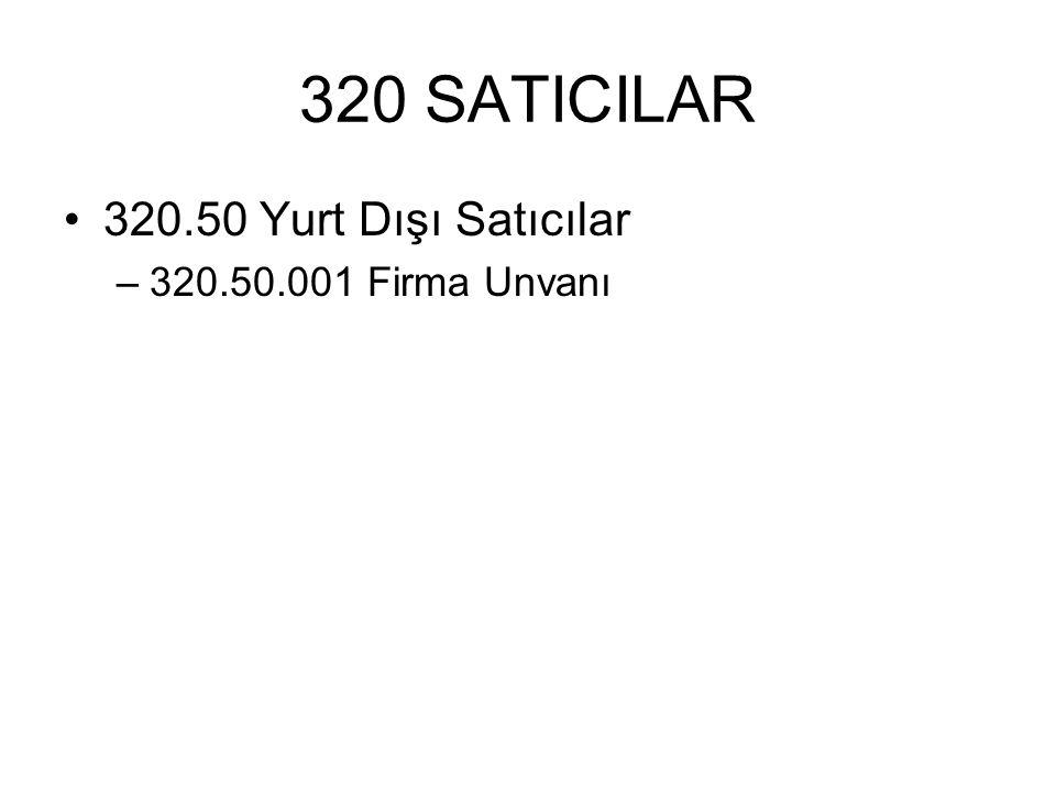320 SATICILAR 320.50 Yurt Dışı Satıcılar –320.50.001 Firma Unvanı