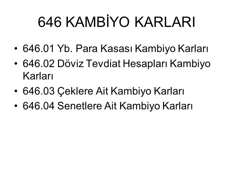 646 KAMBİYO KARLARI 646.01 Yb. Para Kasası Kambiyo Karları 646.02 Döviz Tevdiat Hesapları Kambiyo Karları 646.03 Çeklere Ait Kambiyo Karları 646.04 Se