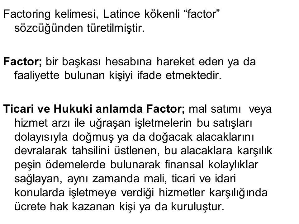 """Factoring kelimesi, Latince kökenli """"factor"""" sözcüğünden türetilmiştir. Factor; bir başkası hesabına hareket eden ya da faaliyette bulunan kişiyi ifad"""