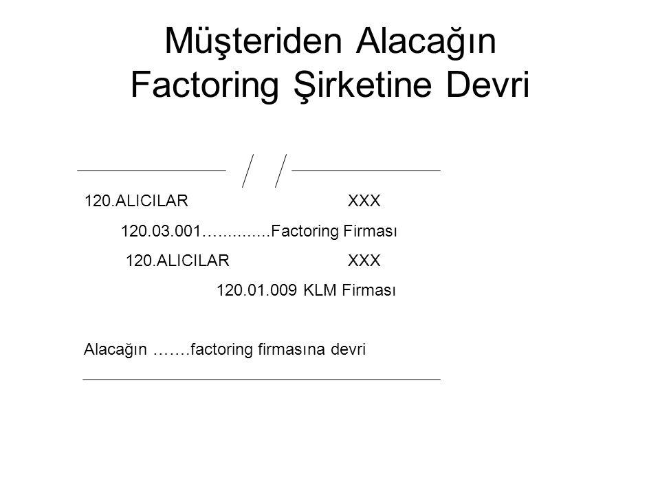 Müşteriden Alacağın Factoring Şirketine Devri 120.ALICILAR XXX 120.03.001…...........Factoring Firması 120.ALICILARXXX 120.01.009 KLM Firması Alacağın