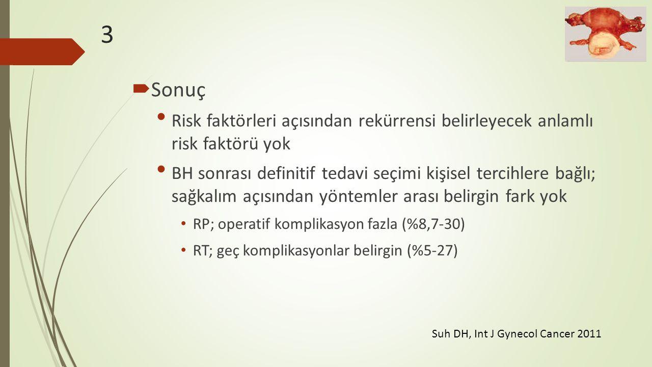 3  Sonuç Risk faktörleri açısından rekürrensi belirleyecek anlamlı risk faktörü yok BH sonrası definitif tedavi seçimi kişisel tercihlere bağlı; sağk