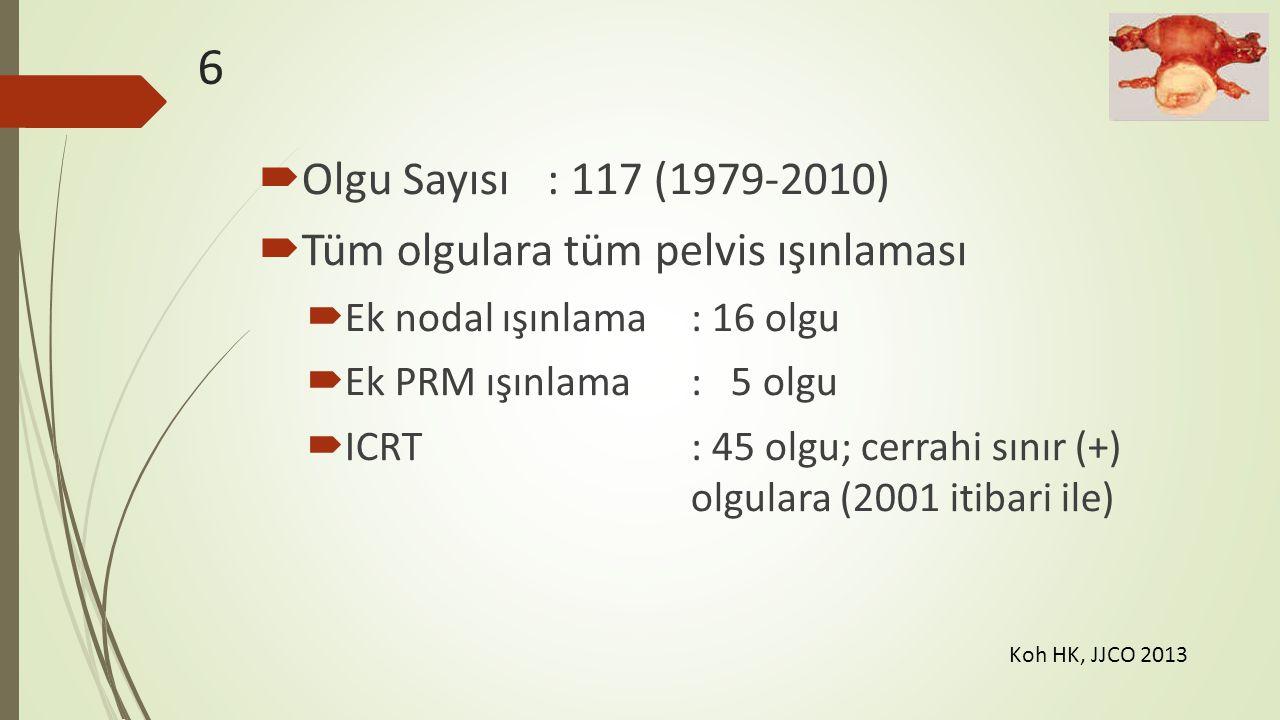 6  Olgu Sayısı: 117 (1979-2010)  Tüm olgulara tüm pelvis ışınlaması  Ek nodal ışınlama: 16 olgu  Ek PRM ışınlama: 5 olgu  ICRT: 45 olgu; cerrahi