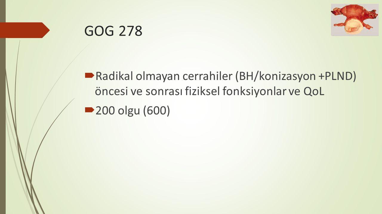 GOG 278  Radikal olmayan cerrahiler (BH/konizasyon +PLND) öncesi ve sonrası fiziksel fonksiyonlar ve QoL  200 olgu (600)