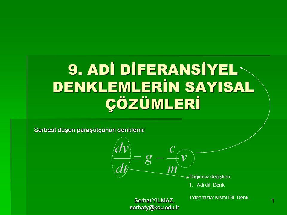 Serhat YILMAZ, serhaty@kou.edu.tr 12 y=-0.5x 4 +4x 3 -10x 2 +8.5x+C C=1 C=-2,-1,0 2,3,…