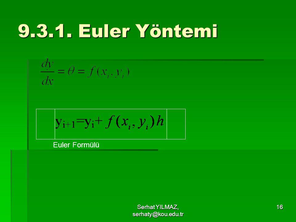 Serhat YILMAZ, serhaty@kou.edu.tr 16 9.3.1. Euler Yöntemi Euler Formülü