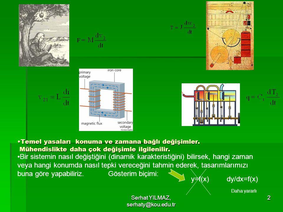 Serhat YILMAZ, serhaty@kou.edu.tr 2 Temel yasalar: konuma ve zamana bağlı değişimler. Mühendislikte daha çok değişimle ilgilenilir.Temel yasalar: konu