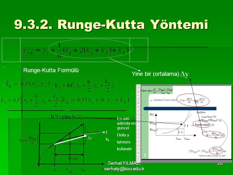 Serhat YILMAZ, serhaty@kou.edu.tr 20 9.3.2. Runge-Kutta Yöntemi Runge-Kutta Formülü Yine bir (ortalama),, En son adımda en güncel Delta y tahmini kull