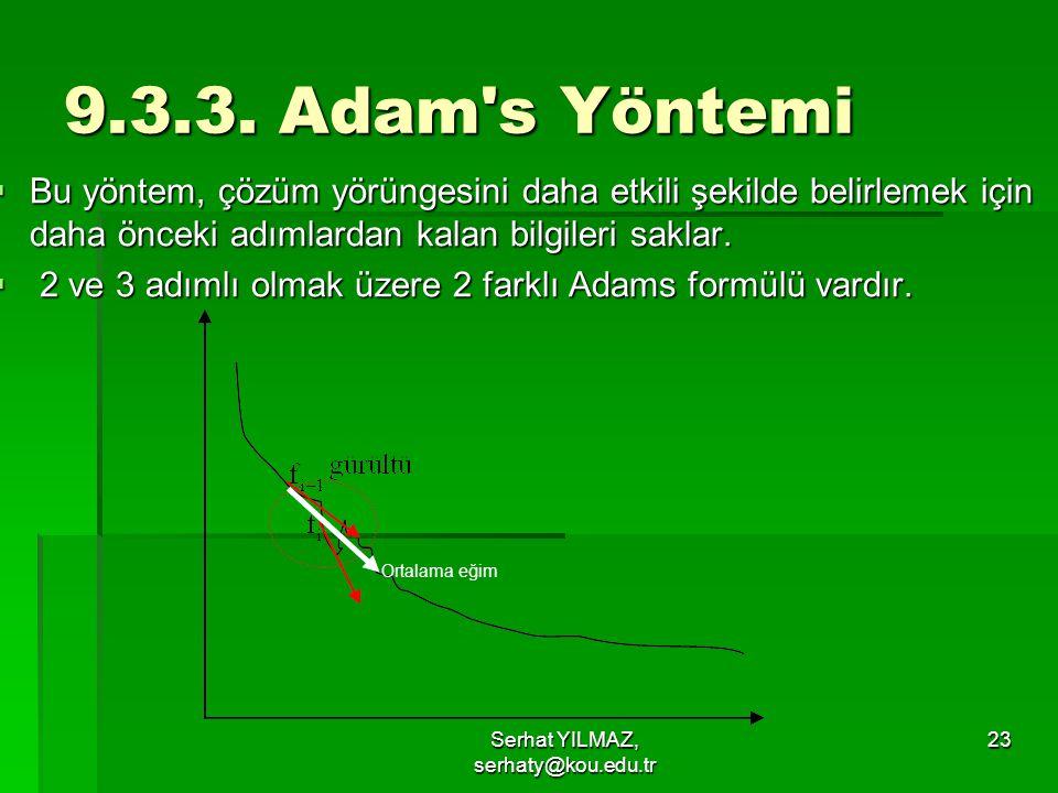 Serhat YILMAZ, serhaty@kou.edu.tr 23 9.3.3. Adam's Yöntemi  Bu yöntem, çözüm yörüngesini daha etkili şekilde belirlemek için daha önceki adımlardan k