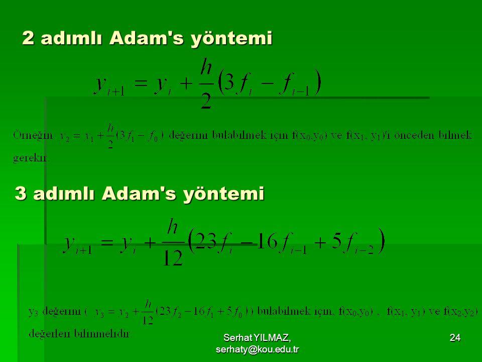 Serhat YILMAZ, serhaty@kou.edu.tr 24 2 adımlı Adam's yöntemi 3 adımlı Adam's yöntemi