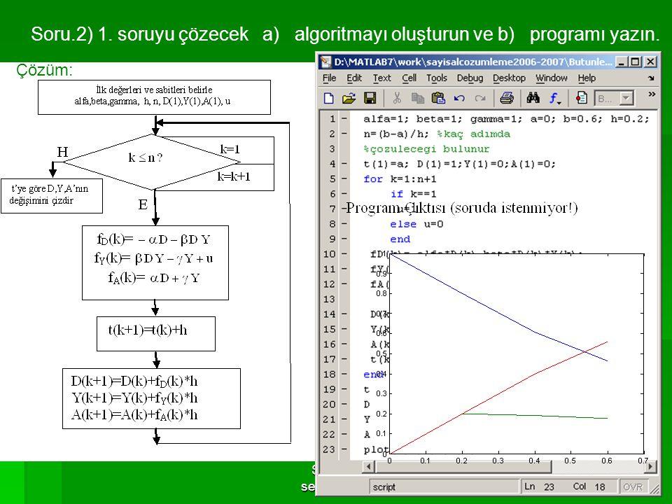 Serhat YILMAZ, serhaty@kou.edu.tr 29 Soru.2) 1. soruyu çözecek a) algoritmayı oluşturun ve b) programı yazın. Çözüm: