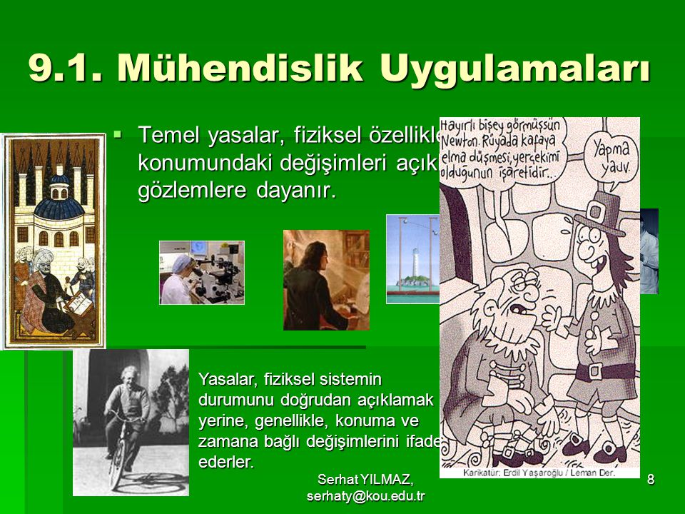 Serhat YILMAZ, serhaty@kou.edu.tr 9  Tablo'da bazı yasalara ilişkin örnekler verilmiştir.