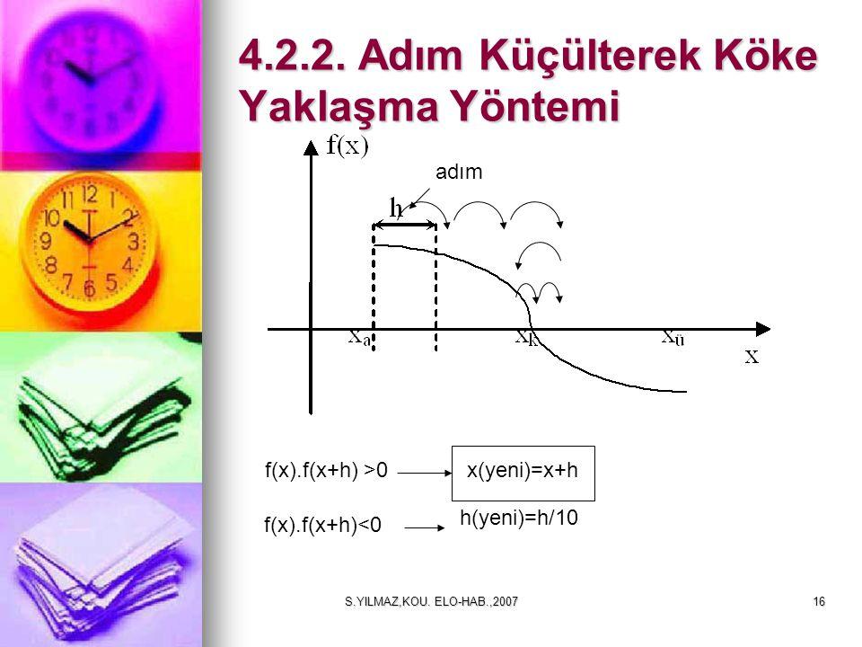 S.YILMAZ,KOU. ELO-HAB.,200716 4.2.2. Adım Küçülterek Köke Yaklaşma Yöntemi f(x).f(x+h) >0 adım f(x).f(x+h)<0 x(yeni)=x+h h(yeni)=h/10