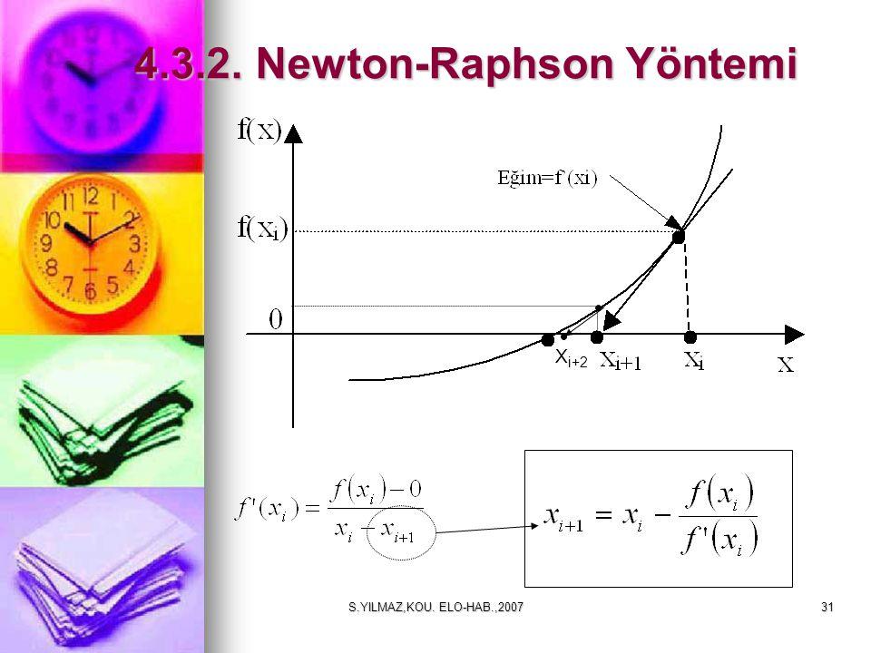 S.YILMAZ,KOU. ELO-HAB.,200731 4.3.2. Newton-Raphson Yöntemi 4.3.2. Newton-Raphson Yöntemi X i+2