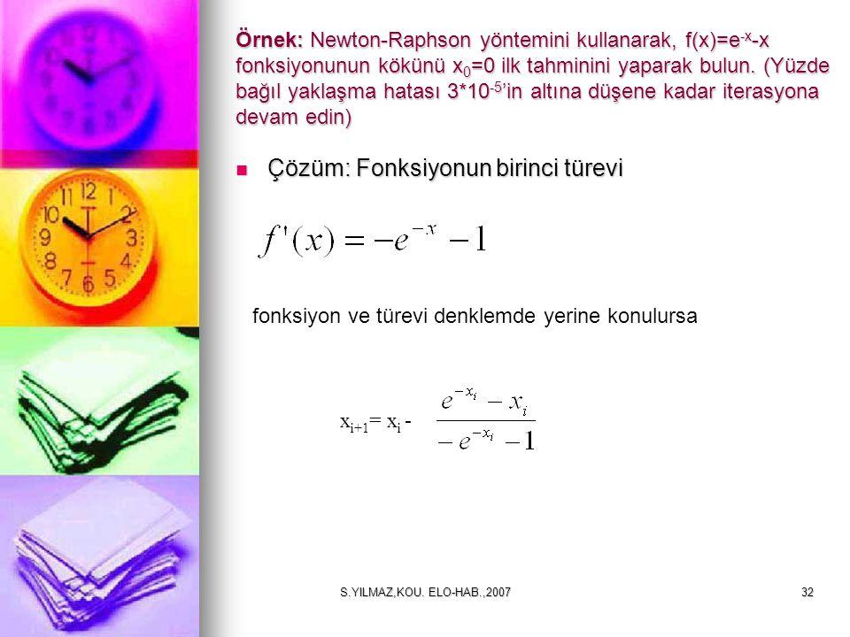 S.YILMAZ,KOU. ELO-HAB.,200732 Örnek: Newton-Raphson yöntemini kullanarak, f(x)=e -x -x fonksiyonunun kökünü x 0 =0 ilk tahminini yaparak bulun. (Yüzde