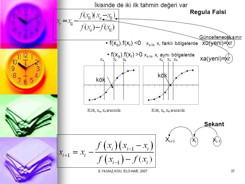 S.YILMAZ,KOU. ELO-HAB.,200737 f(x a ).f(x r ) <0 x a ile x r farklı bölgelerde kök xü(yeni)=xr Güncellenecek sınır f(x a ).f(x r ) >0 x a ile x r aynı