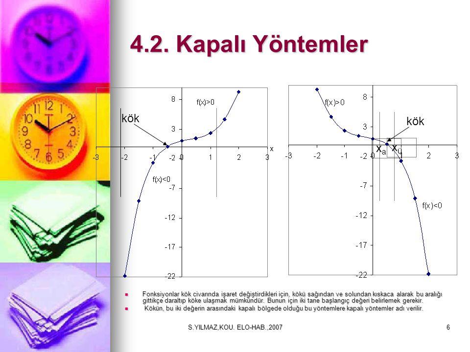 S.YILMAZ,KOU.ELO-HAB.,200717 Örnek: Herhangi bir f(x) fonksiyonunun kökü 5.42 olsun.