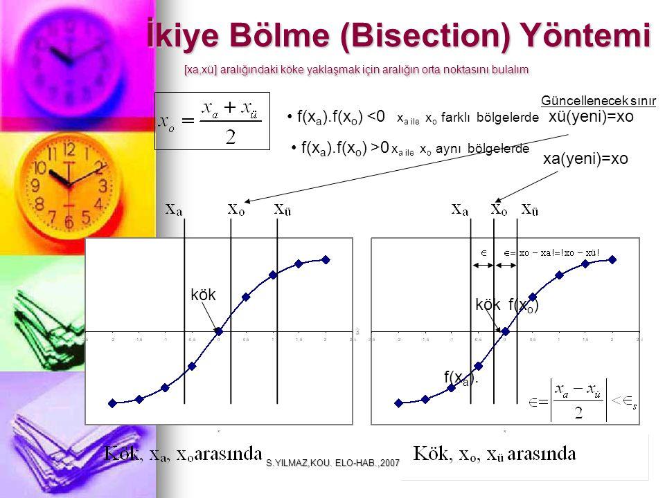S.YILMAZ,KOU. ELO-HAB.,20079 [xa,xü] aralığındaki köke yaklaşmak için aralığın orta noktasını bulalım f(x a ).f(x o ) <0 f(x a ). f(x o ) x a ile x o