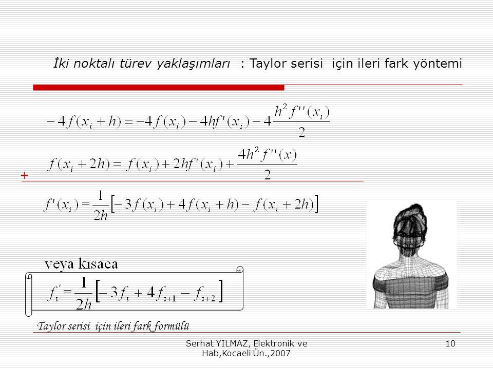 Serhat YILMAZ, Elektronik ve Hab,Kocaeli Ün.,2007 10 + İki noktalı türev yaklaşımları : Taylor serisi için ileri fark yöntemi Taylor serisi için ileri fark formülü