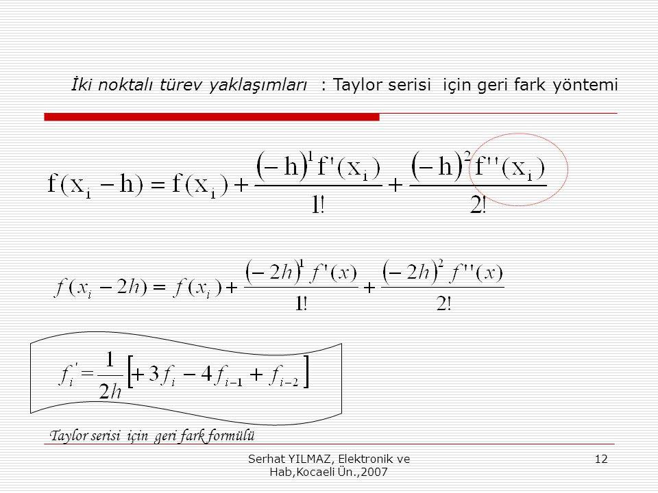 Serhat YILMAZ, Elektronik ve Hab,Kocaeli Ün.,2007 12 İki noktalı türev yaklaşımları : Taylor serisi için geri fark yöntemi Taylor serisi için geri fark formülü
