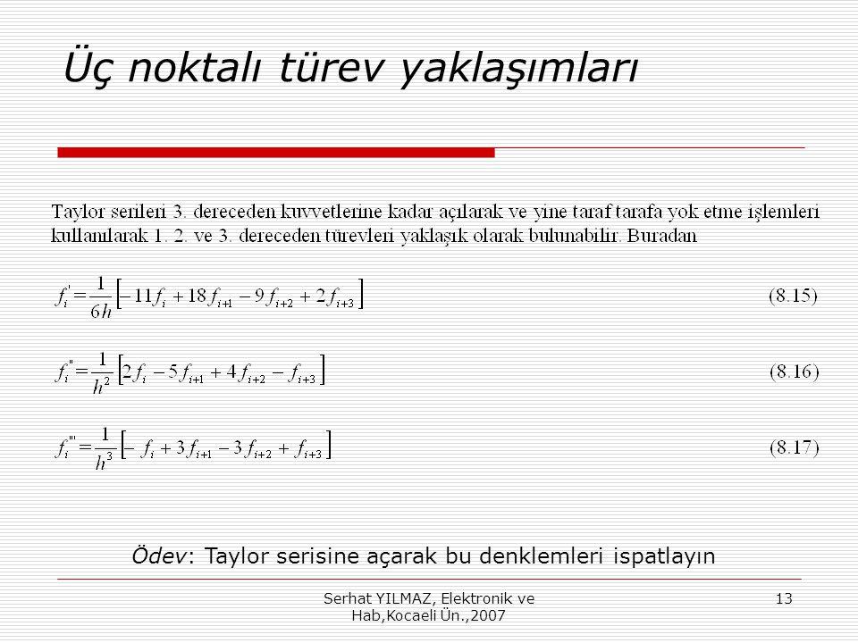 Serhat YILMAZ, Elektronik ve Hab,Kocaeli Ün.,2007 13 Üç noktalı türev yaklaşımları Ödev: Taylor serisine açarak bu denklemleri ispatlayın
